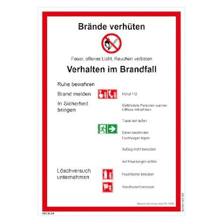 Brandschutzordnung: Brände-verhüten-Schild
