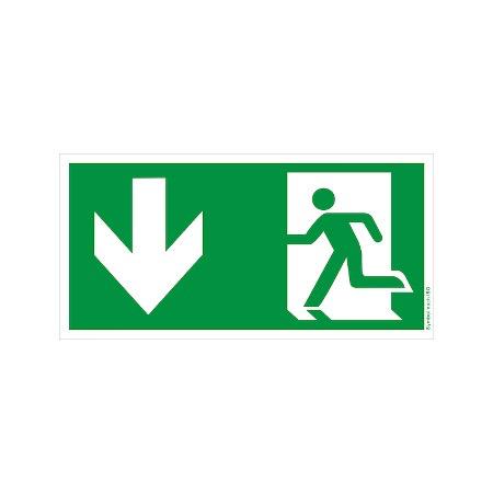 Symbol-Schild: Notausgang unten