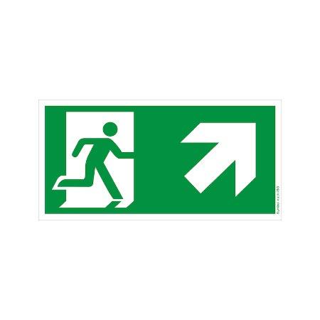 Symbol-Schild: Notausgang rechts-aufwärts